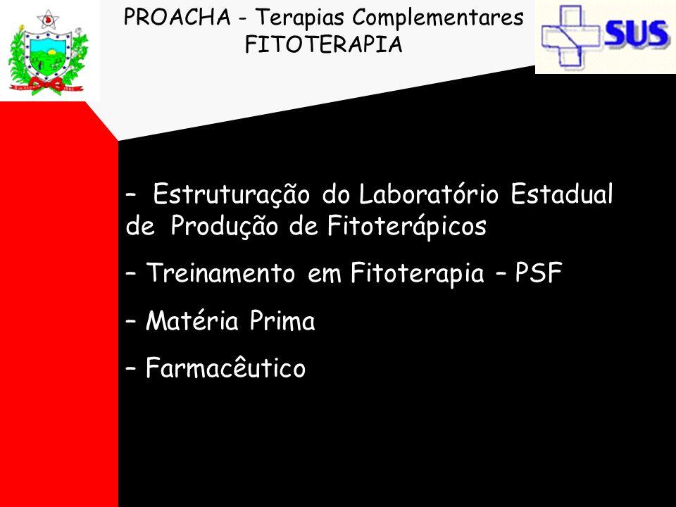 PROACHA - Terapias Complementares FITOTERAPIA – Estruturação do Laboratório Estadual de Produção de Fitoterápicos – Treinamento em Fitoterapia – PSF –