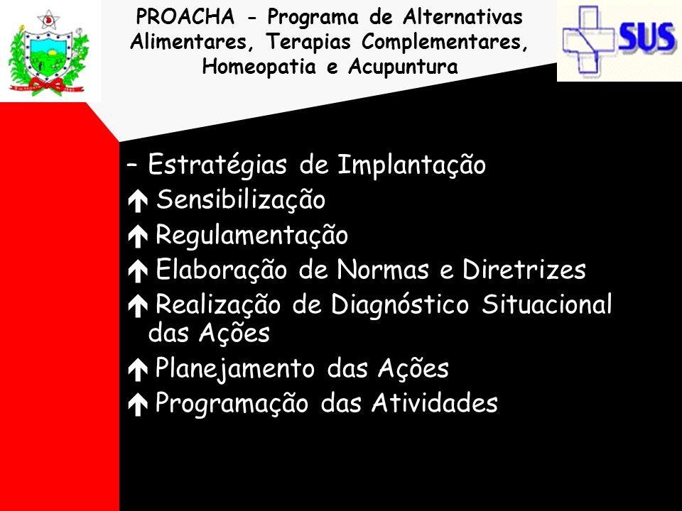 PROACHA - Programa de Alternativas Alimentares, Terapias Complementares, Homeopatia e Acupuntura –Estratégias de Implantação é Sensibilização é Regula