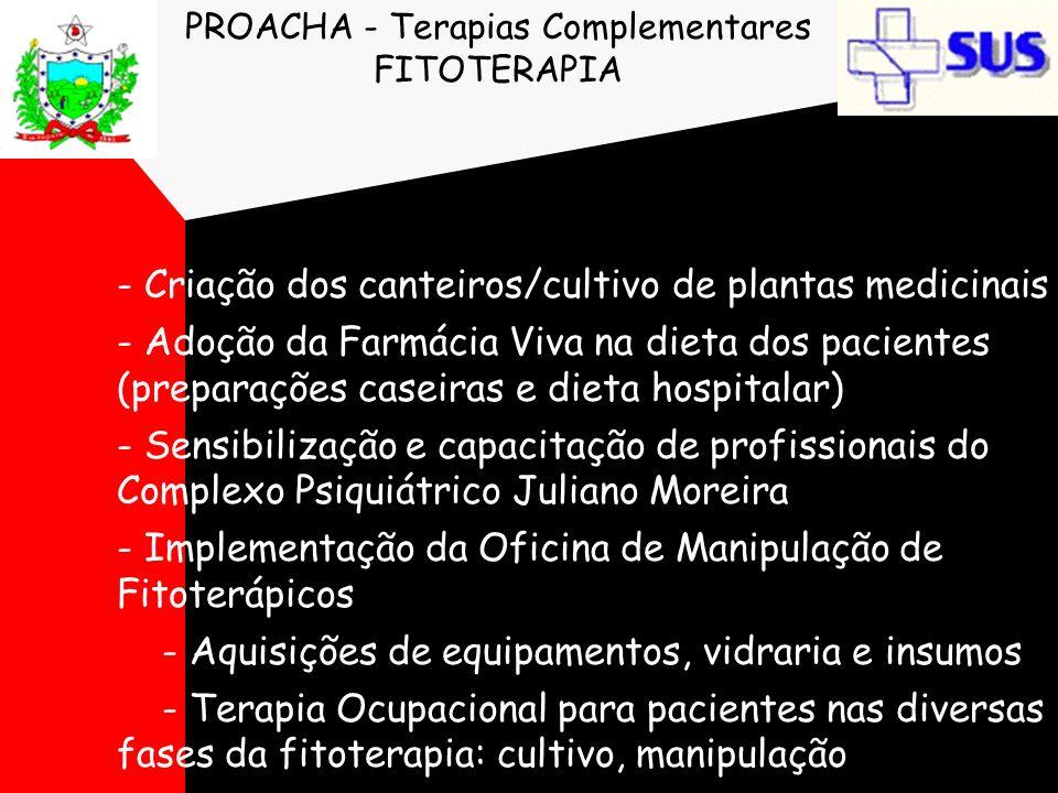 PROACHA - Terapias Complementares FITOTERAPIA - Criação dos canteiros/cultivo de plantas medicinais - Adoção da Farmácia Viva na dieta dos pacientes (