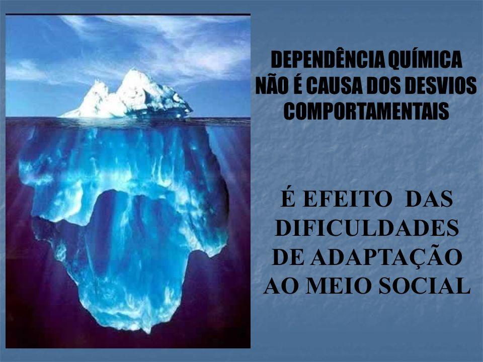 DEPENDÊNCIA QUÍMICA NÃO É CAUSA DOS DESVIOS COMPORTAMENTAIS É EFEITO DAS DIFICULDADES DE ADAPTAÇÃO AO MEIO SOCIAL