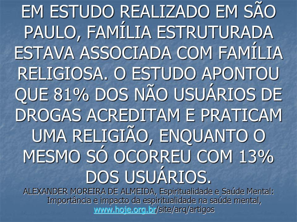 EM ESTUDO REALIZADO EM SÃO PAULO, FAMÍLIA ESTRUTURADA ESTAVA ASSOCIADA COM FAMÍLIA RELIGIOSA. O ESTUDO APONTOU QUE 81% DOS NÃO USUÁRIOS DE DROGAS ACRE