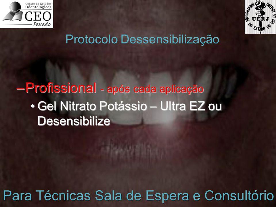 –Profissional - após cada aplicação Gel Nitrato Potássio – Ultra EZ ou DesensibilizeGel Nitrato Potássio – Ultra EZ ou Desensibilize Protocolo Dessens