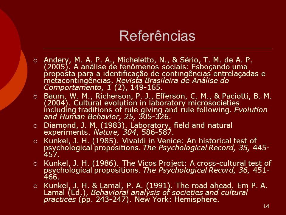 14 Referências Andery, M.A. P. A., Micheletto, N., & Sério, T.