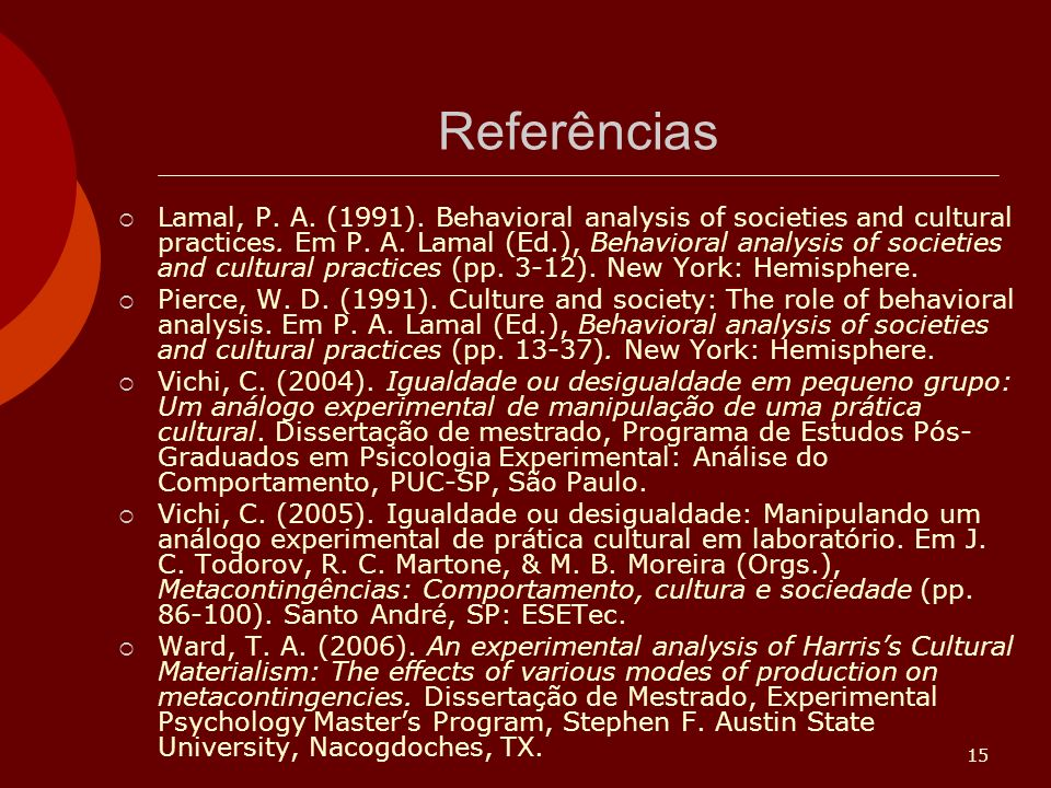 15 Referências Lamal, P.A. (1991). Behavioral analysis of societies and cultural practices.