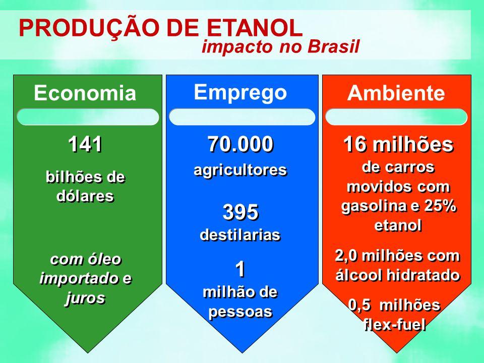 PRODUÇÃO DE ETANOL impacto no Brasil Economia 141 bilhões de dólares com óleo importado e juros 141 bilhões de dólares com óleo importado e juros Emprego 70.000 agricultores 395 destilarias 1 milhão de pessoas 70.000 agricultores 395 destilarias 1 milhão de pessoas Ambiente 16 milhões de carros movidos com gasolina e 25% etanol 2,0 milhões com álcool hidratado 0,5 milhões flex-fuel