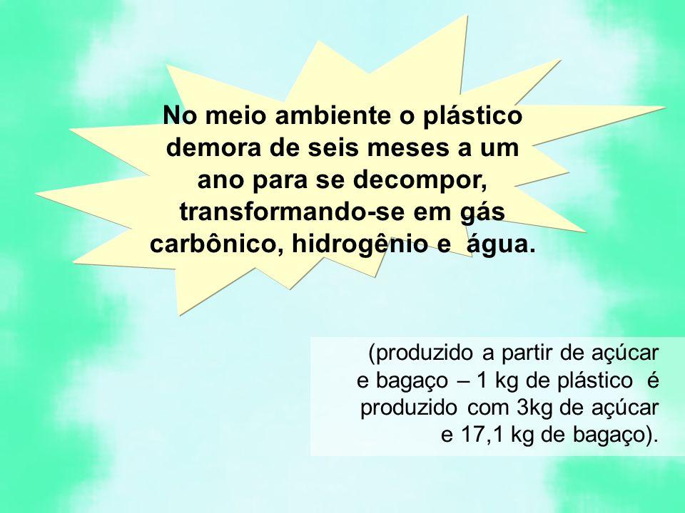 No meio ambiente o plástico demora de seis meses a um ano para se decompor, transformando-se em gás carbônico, hidrogênio e água. (produzido a partir
