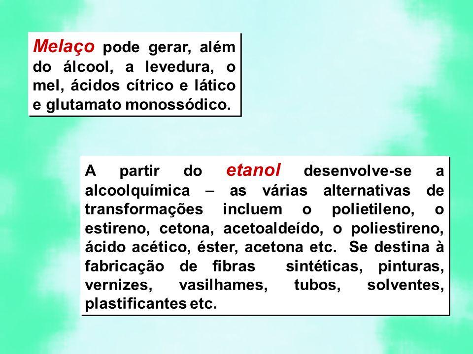 Melaço pode gerar, além do álcool, a levedura, o mel, ácidos cítrico e lático e glutamato monossódico.