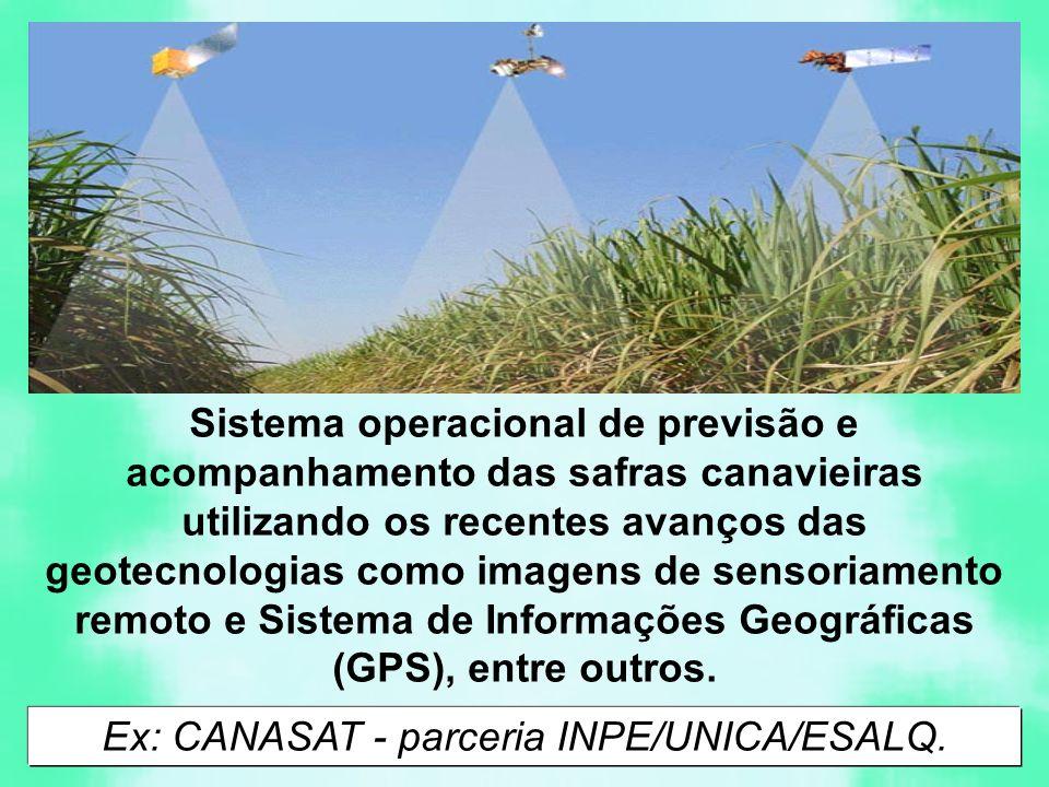 Sistema operacional de previsão e acompanhamento das safras canavieiras utilizando os recentes avanços das geotecnologias como imagens de sensoriamento remoto e Sistema de Informações Geográficas (GPS), entre outros.