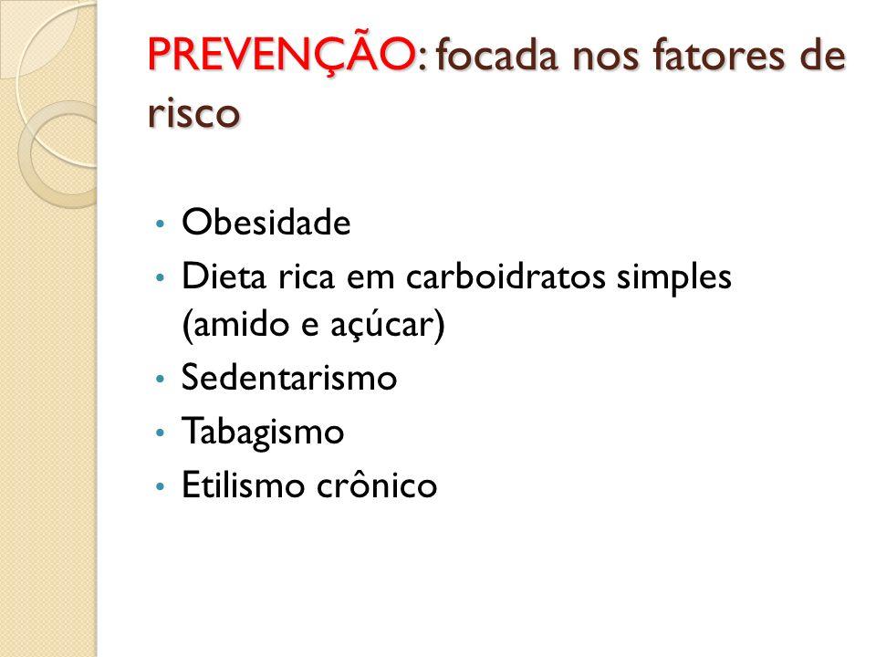 PREVENÇÃO: focada nos fatores de risco Obesidade Dieta rica em carboidratos simples (amido e açúcar) Sedentarismo Tabagismo Etilismo crônico
