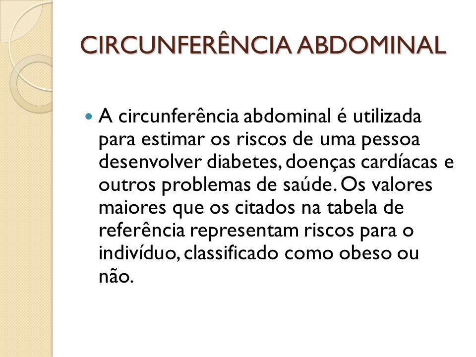 CIRCUNFERÊNCIA ABDOMINAL A circunferência abdominal é utilizada para estimar os riscos de uma pessoa desenvolver diabetes, doenças cardíacas e outros