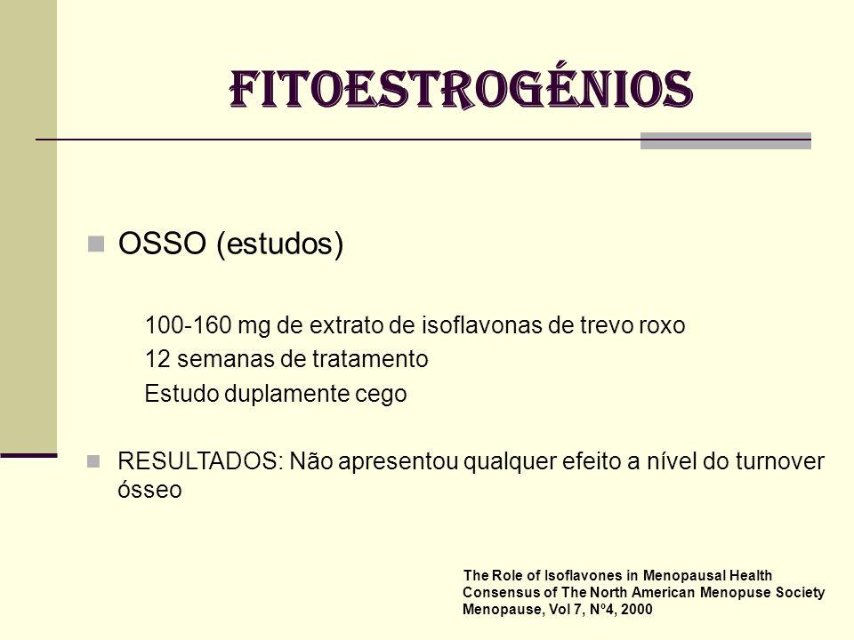 FITOESTROGÉNIOS OSSO (estudos) Potter SM Am J Clin Nutr 1998 66 mulheres pós menopáusicas 6 meses de tratamento Estudo duplamente cego RESULTADOS: Aum