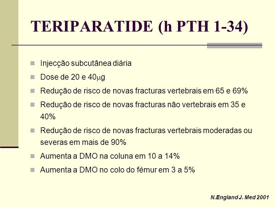 TERIPARATIDE (h PTH 1-34) Hormona sintética recombinante que consiste no fragmento 1- 34 da hormona paratiróide humana Primeira droga aprovada pela FD