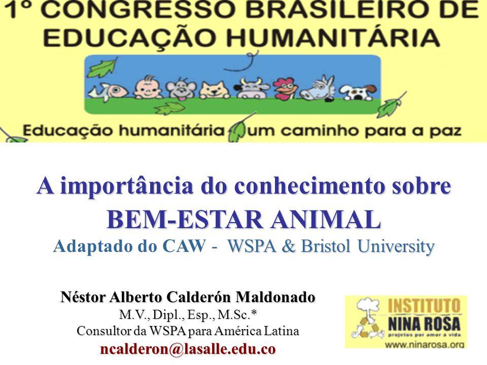 A importância do conhecimento sobre BEM-ESTAR ANIMAL WSPA & Bristol University Adaptado do CAW - WSPA & Bristol University Néstor Alberto Calderón Mal
