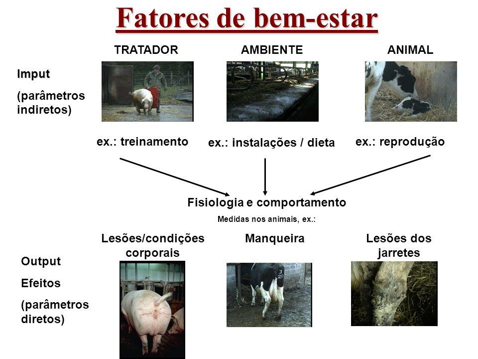 Fisiologia e comportamento Medidas nos animais, ex.: AMBIENTE ex.: instalações / dieta TRATADOR ex.: treinamento ANIMAL ex.: reprodução Imput (parâmet
