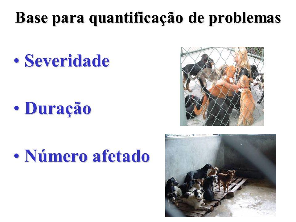 SeveridadeSeveridade DuraçãoDuração Número afetadoNúmero afetado Base para quantificação de problemas