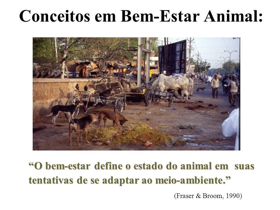 Conceitos em Bem-Estar Animal: O bem-estar define o estado do animal em suas tentativas de se adaptar ao meio-ambiente. O bem-estar define o estado do