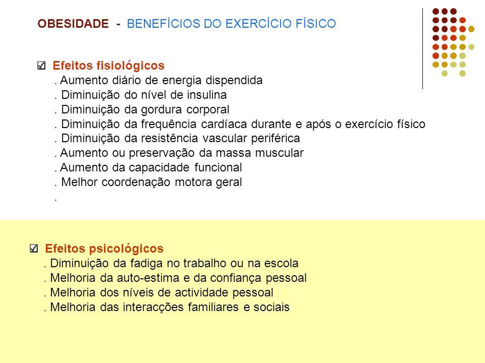 OBESIDADE - BENEFÍCIOS DO EXERCÍCIO FÍSICO Efeitos fisiológicos.