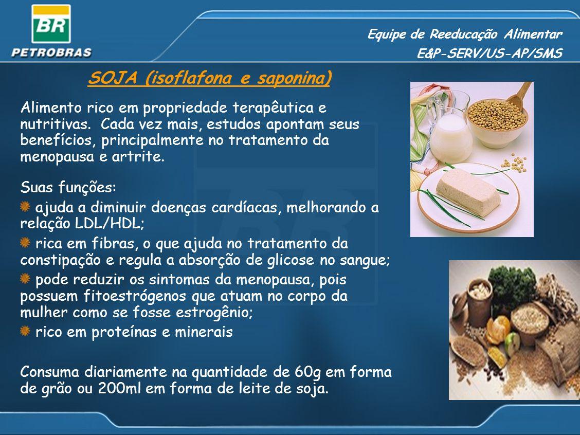 Equipe de Reeducação Alimentar E&P-SERV/US-AP/SMS SOJA (isoflafona e saponina) Alimento rico em propriedade terapêutica e nutritivas. Cada vez mais, e