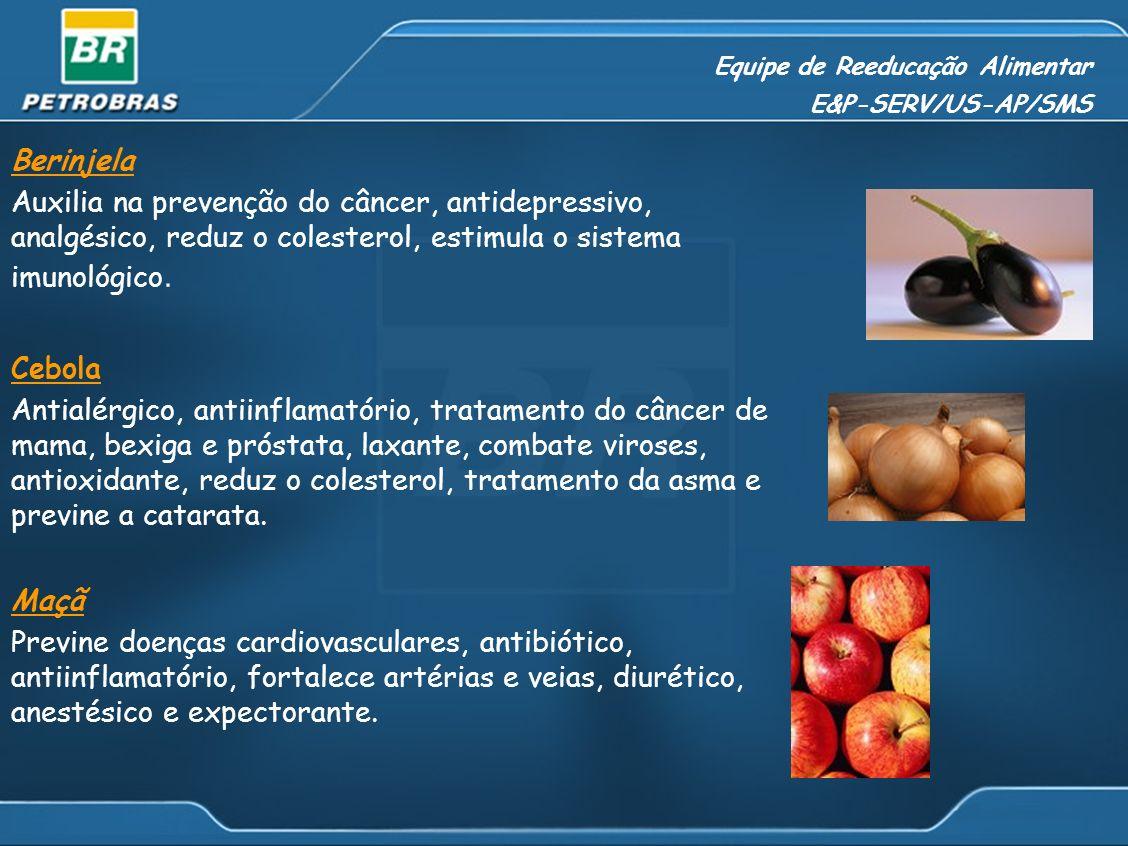 Equipe de Reeducação Alimentar E&P-SERV/US-AP/SMS Berinjela Auxilia na prevenção do câncer, antidepressivo, analgésico, reduz o colesterol, estimula o