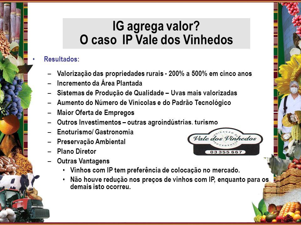 Resultados: – Valorização das propriedades rurais - 200% a 500% em cinco anos – Incremento da Área Plantada – Sistemas de Produção de Qualidade – Uvas