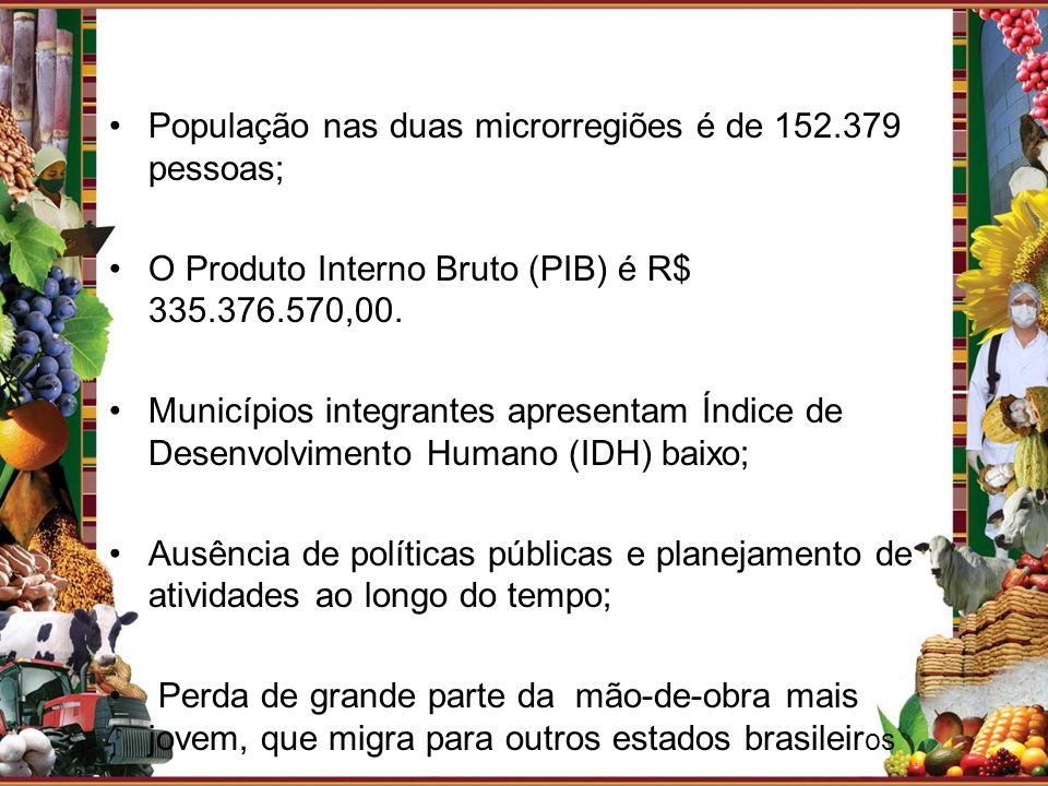 População nas duas microrregiões é de 152.379 pessoas; O Produto Interno Bruto (PIB) é R$ 335.376.570,00. Municípios integrantes apresentam Índice de