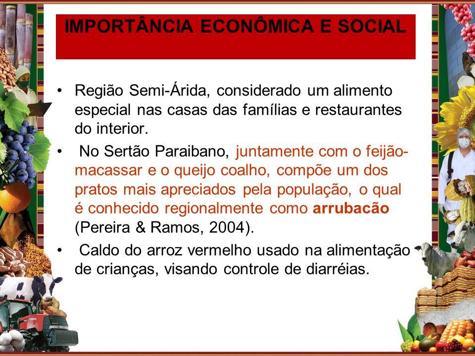 IMPORTÂNCIA ECONÔMICA E SOCIAL Região Semi-Árida, considerado um alimento especial nas casas das famílias e restaurantes do interior. No Sertão Paraib
