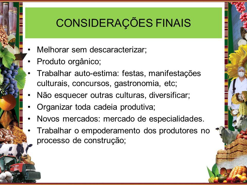 CONSIDERAÇÕES FINAIS Melhorar sem descaracterizar; Produto orgânico; Trabalhar auto-estima: festas, manifestações culturais, concursos, gastronomia, e