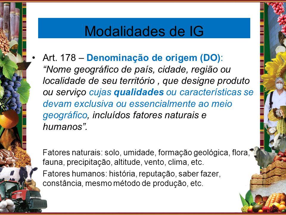 Modalidades de IG Art. 178 – Denominação de origem (DO): Nome geográfico de país, cidade, região ou localidade de seu território, que designe produto