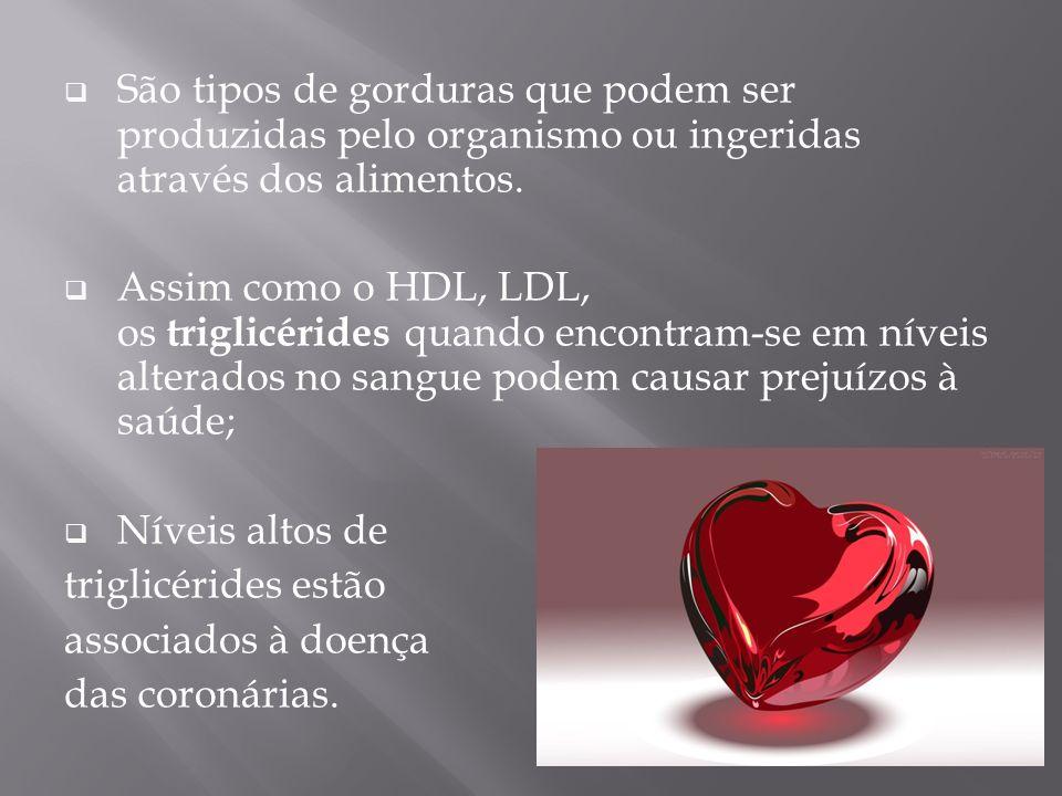 São tipos de gorduras que podem ser produzidas pelo organismo ou ingeridas através dos alimentos. Assim como o HDL, LDL, os triglicérides quando encon