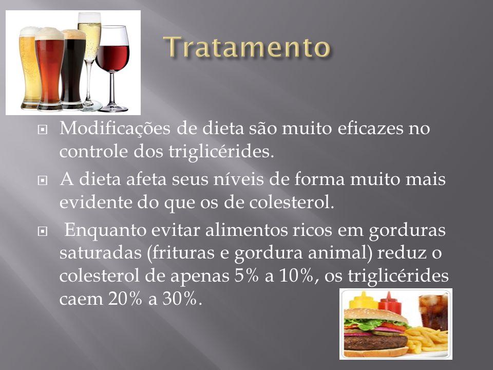 Modificações de dieta são muito eficazes no controle dos triglicérides. A dieta afeta seus níveis de forma muito mais evidente do que os de colesterol