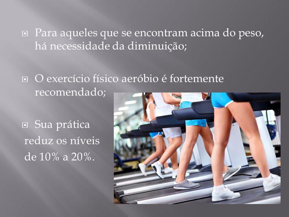 Para aqueles que se encontram acima do peso, há necessidade da diminuição; O exercício físico aeróbio é fortemente recomendado; Sua prática reduz os n