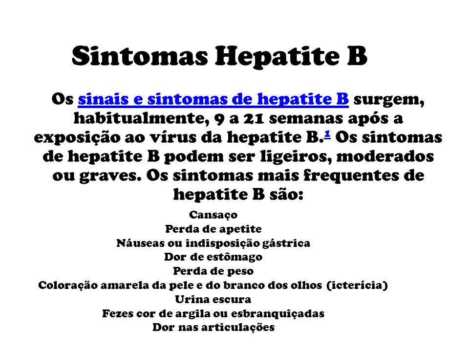 Sintomas Hepatite B Os sinais e sintomas de hepatite B surgem, habitualmente, 9 a 21 semanas após a exposição ao vírus da hepatite B.