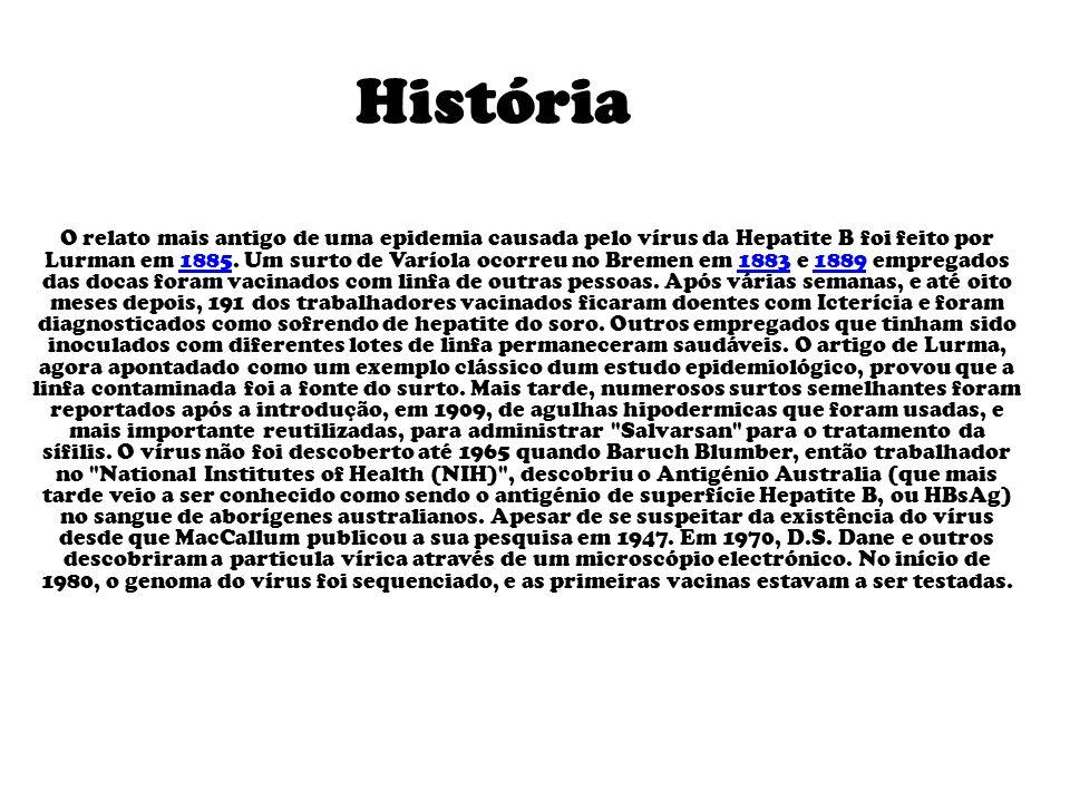 História O relato mais antigo de uma epidemia causada pelo vírus da Hepatite B foi feito por Lurman em 1885.