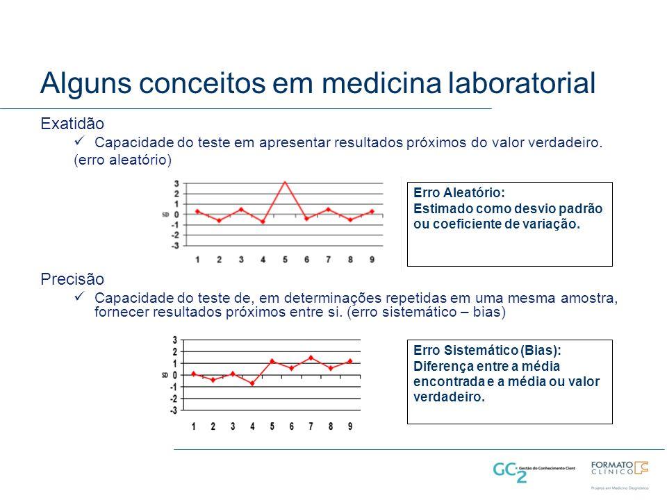 Alguns conceitos em medicina laboratorial Exatidão Capacidade do teste em apresentar resultados próximos do valor verdadeiro.
