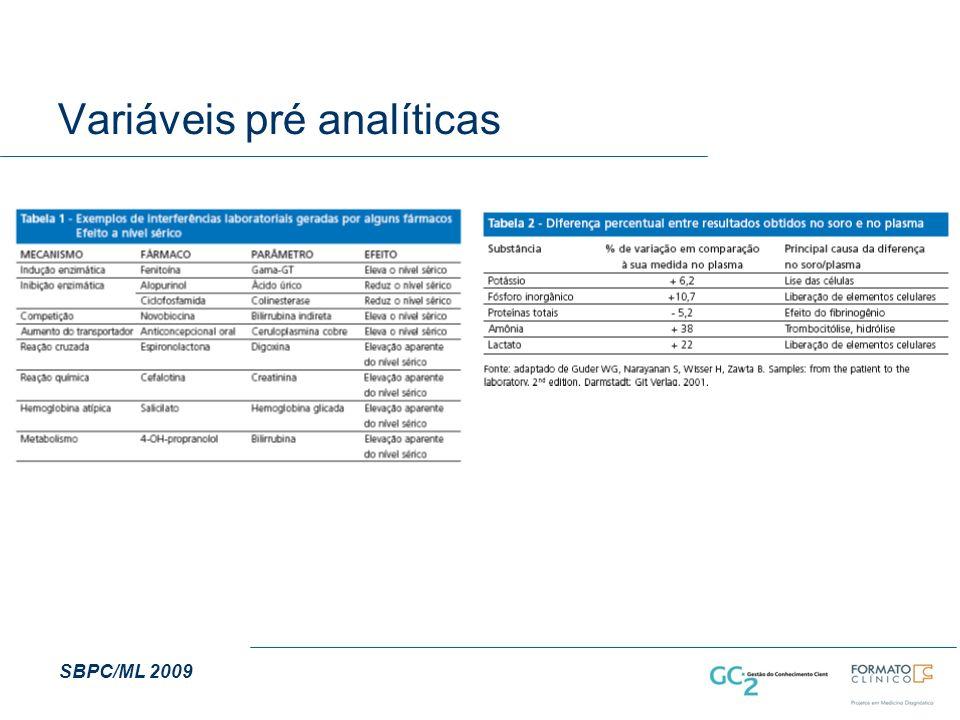 Variáveis pré analíticas SBPC/ML 2009