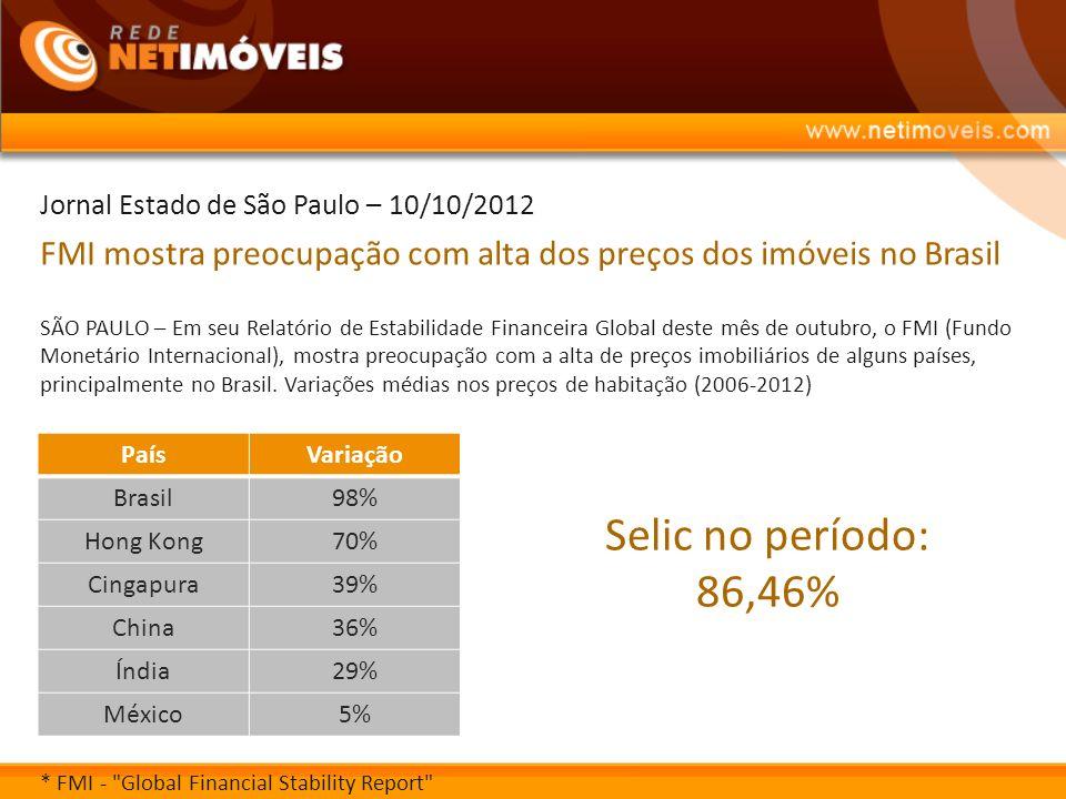 Jornal Estado de São Paulo – 10/10/2012 FMI mostra preocupação com alta dos preços dos imóveis no Brasil SÃO PAULO – Em seu Relatório de Estabilidade