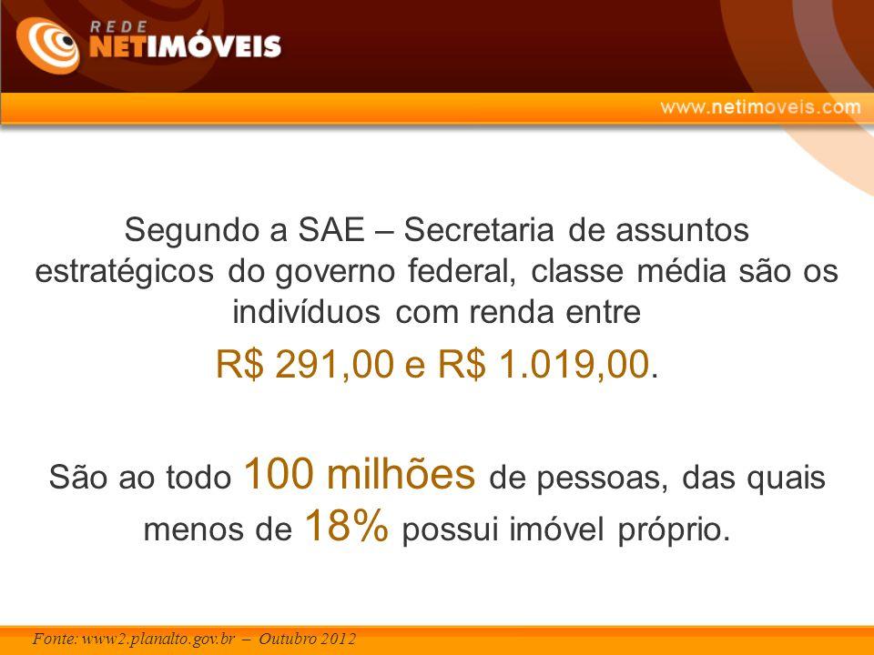 Fonte: www2.planalto.gov.br – Outubro 2012 Segundo a SAE – Secretaria de assuntos estratégicos do governo federal, classe média são os indivíduos com renda entre R$ 291,00 e R$ 1.019,00.