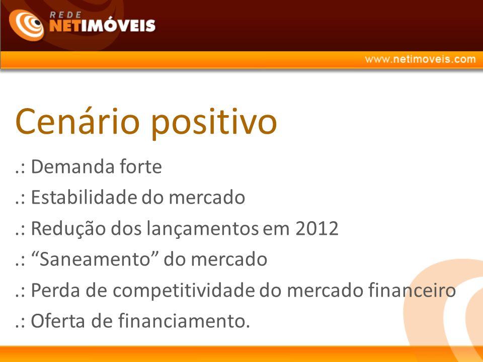 Cenário positivo.: Demanda forte.: Estabilidade do mercado.: Redução dos lançamentos em 2012.: Saneamento do mercado.: Perda de competitividade do mercado financeiro.: Oferta de financiamento.