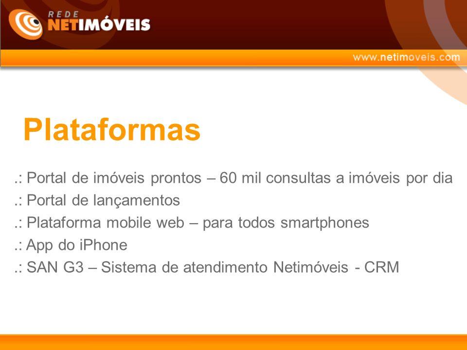 Plataformas.: Portal de imóveis prontos – 60 mil consultas a imóveis por dia.: Portal de lançamentos.: Plataforma mobile web – para todos smartphones.: App do iPhone.: SAN G3 – Sistema de atendimento Netimóveis - CRM