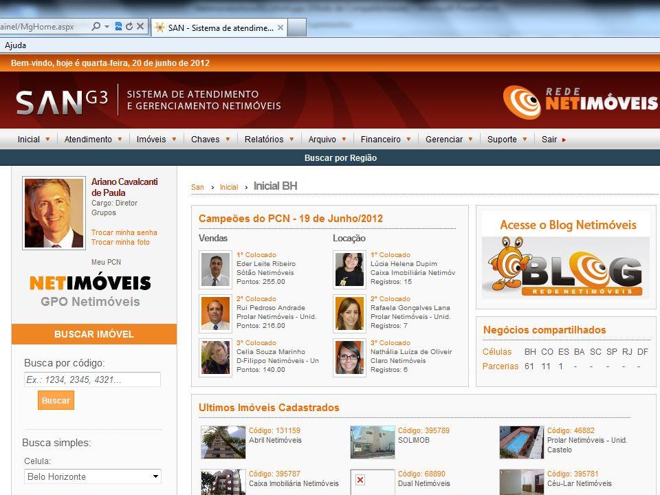 Painel de controle privativo de corretores, consultores, gerentes e funcionários de locação e administrativo.
