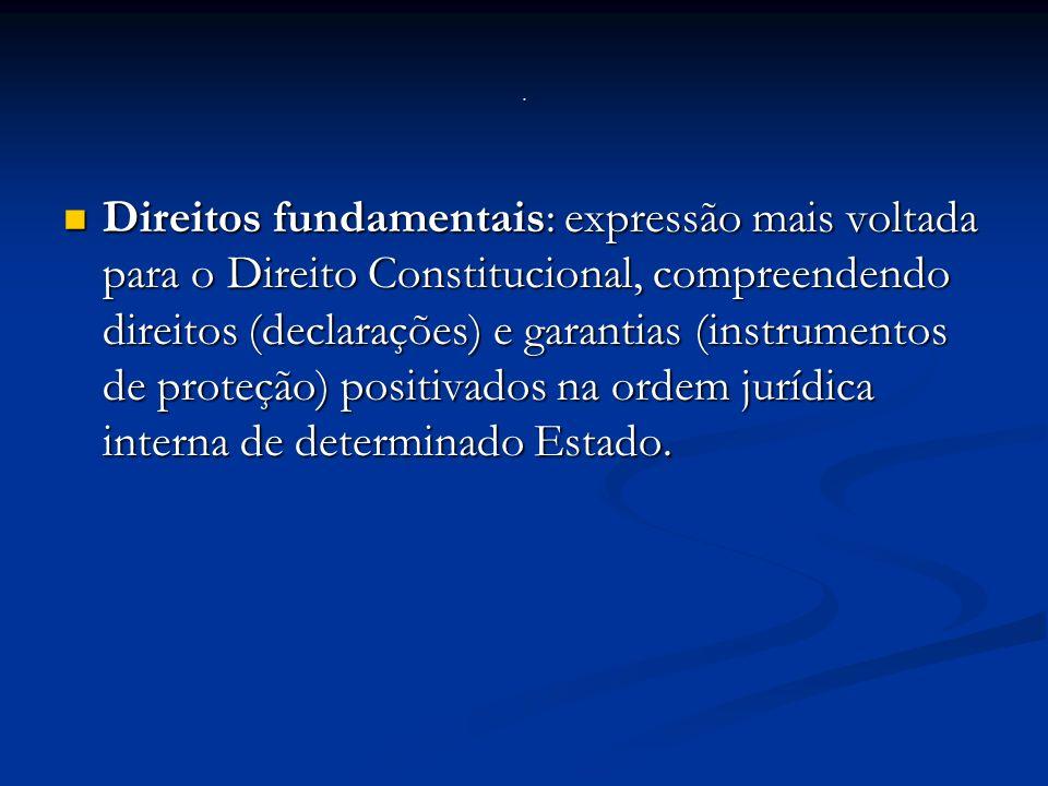 Direitos fundamentais: expressão mais voltada para o Direito Constitucional, compreendendo direitos (declarações) e garantias (instrumentos de proteção) positivados na ordem jurídica interna de determinado Estado.