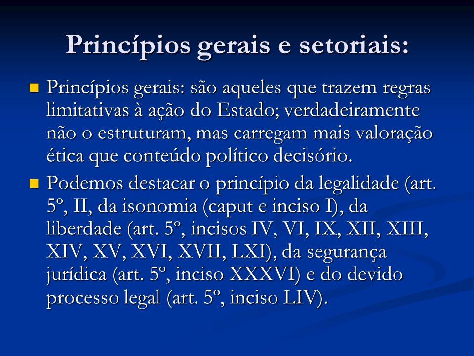 Princípios gerais e setoriais: Princípios gerais: são aqueles que trazem regras limitativas à ação do Estado; verdadeiramente não o estruturam, mas carregam mais valoração ética que conteúdo político decisório.