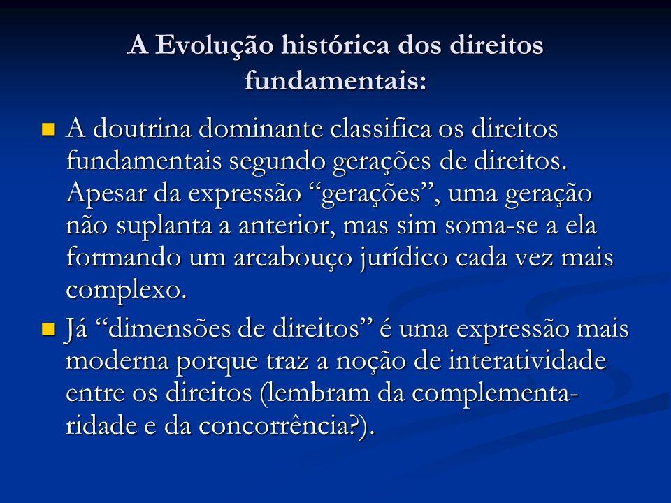A Evolução histórica dos direitos fundamentais: A doutrina dominante classifica os direitos fundamentais segundo gerações de direitos.