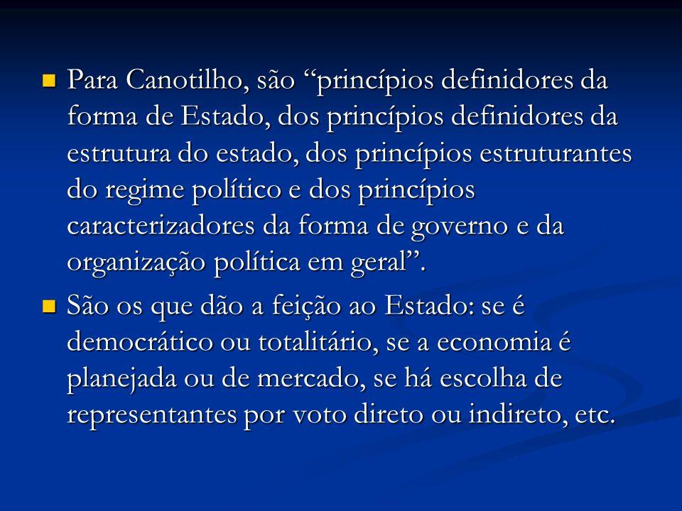 Para Canotilho, são princípios definidores da forma de Estado, dos princípios definidores da estrutura do estado, dos princípios estruturantes do regime político e dos princípios caracterizadores da forma de governo e da organização política em geral.