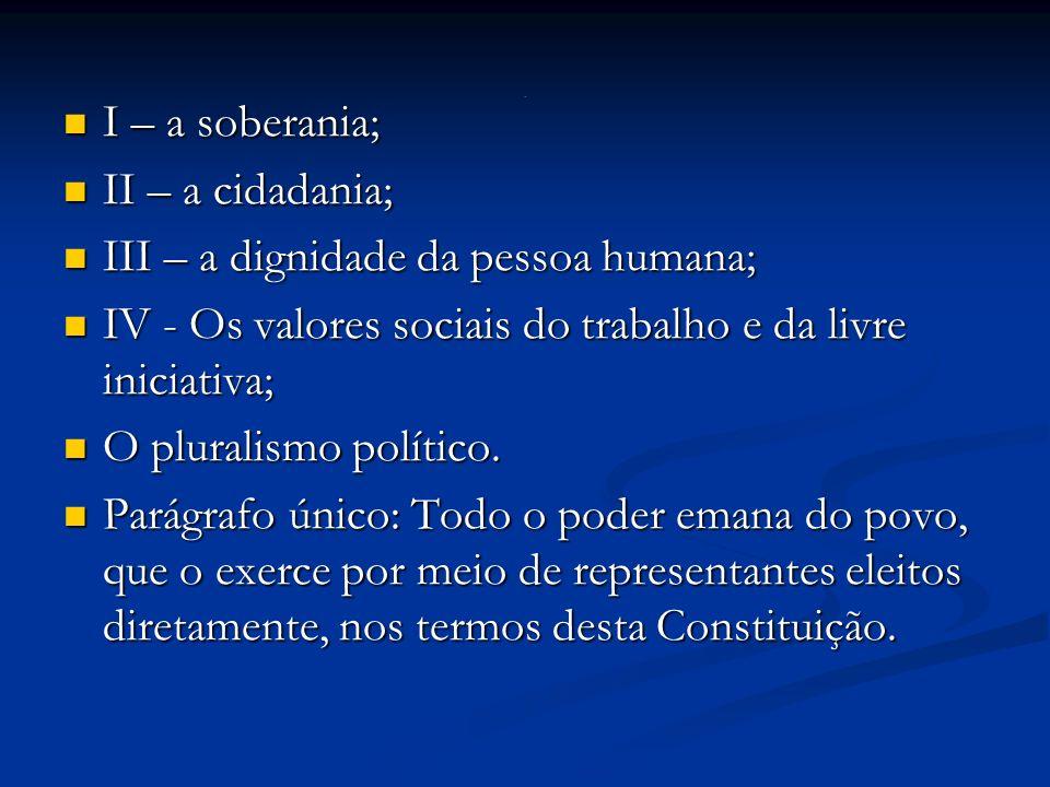 I – a soberania; I – a soberania; II – a cidadania; II – a cidadania; III – a dignidade da pessoa humana; III – a dignidade da pessoa humana; IV - Os valores sociais do trabalho e da livre iniciativa; IV - Os valores sociais do trabalho e da livre iniciativa; O pluralismo político.