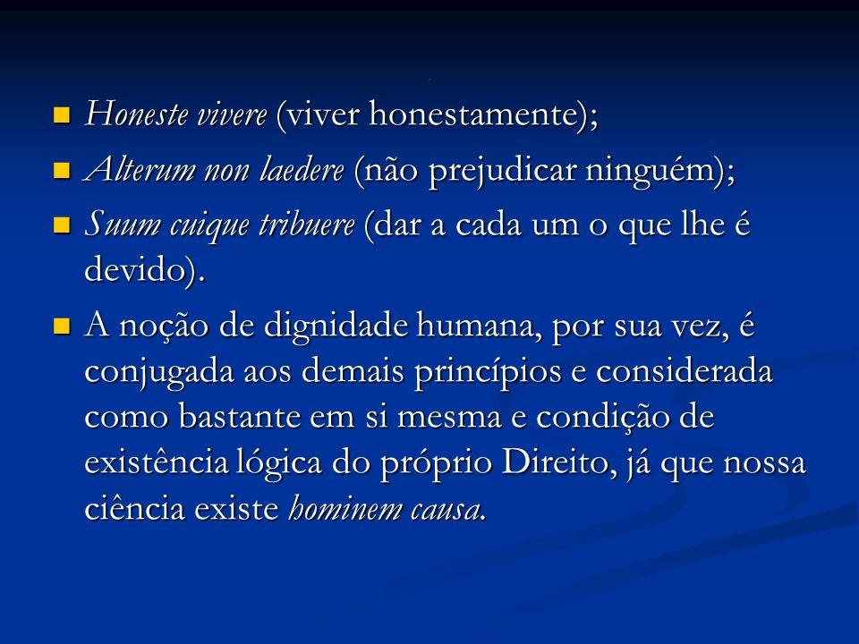 Honeste vivere (viver honestamente); Honeste vivere (viver honestamente); Alterum non laedere (não prejudicar ninguém); Alterum non laedere (não prejudicar ninguém); Suum cuique tribuere (dar a cada um o que lhe é devido).