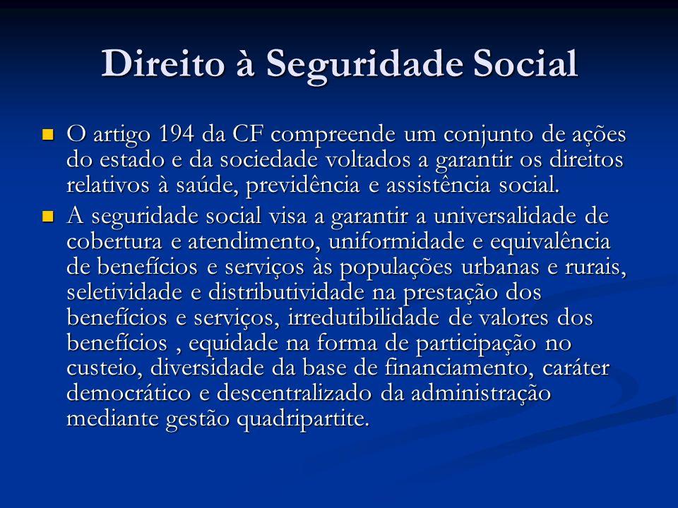 Direito à Seguridade Social O artigo 194 da CF compreende um conjunto de ações do estado e da sociedade voltados a garantir os direitos relativos à saúde, previdência e assistência social.
