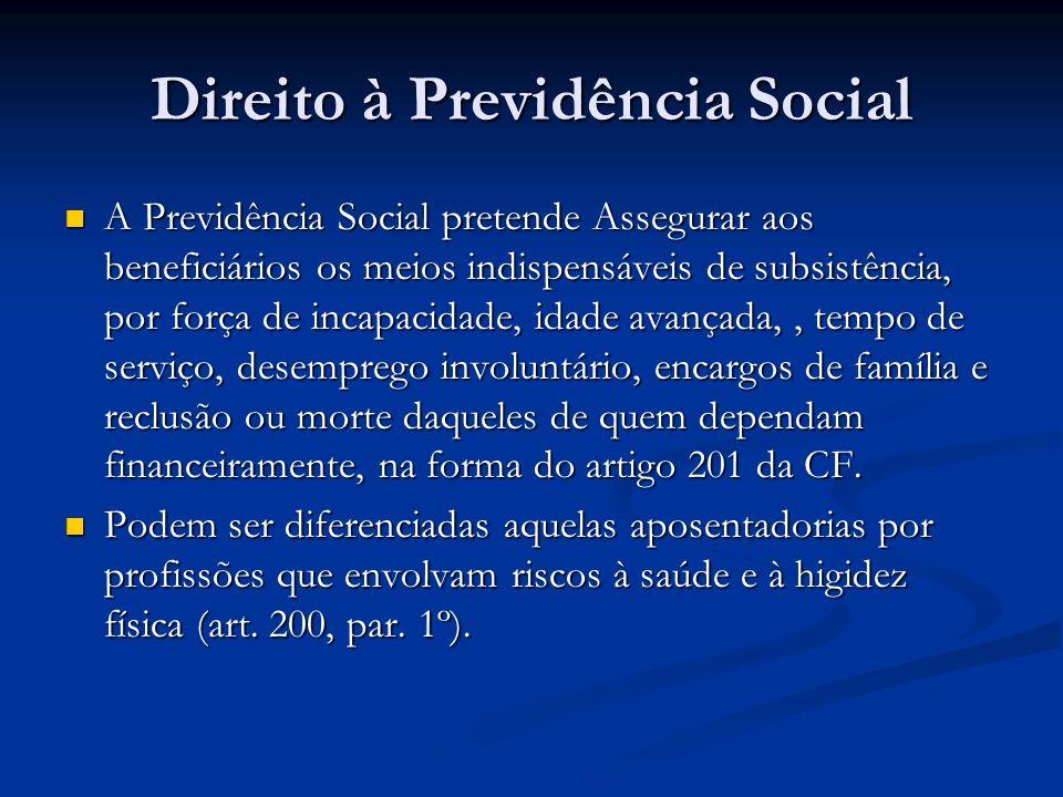 Direito à Previdência Social A Previdência Social pretende Assegurar aos beneficiários os meios indispensáveis de subsistência, por força de incapacidade, idade avançada,, tempo de serviço, desemprego involuntário, encargos de família e reclusão ou morte daqueles de quem dependam financeiramente, na forma do artigo 201 da CF.