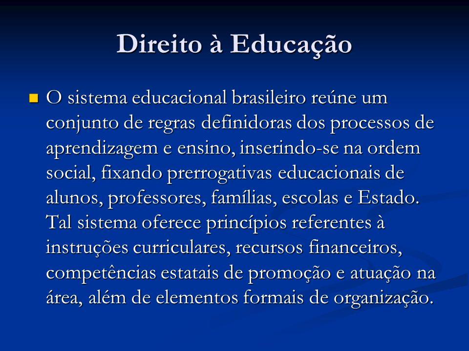 Direito à Educação O sistema educacional brasileiro reúne um conjunto de regras definidoras dos processos de aprendizagem e ensino, inserindo-se na ordem social, fixando prerrogativas educacionais de alunos, professores, famílias, escolas e Estado.