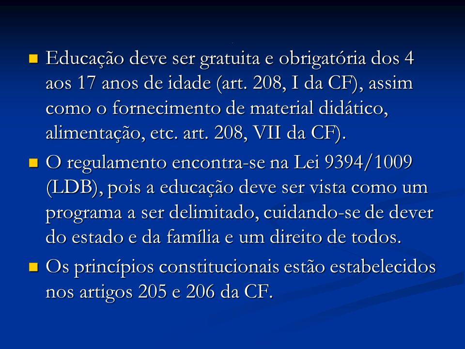 Educação deve ser gratuita e obrigatória dos 4 aos 17 anos de idade (art.
